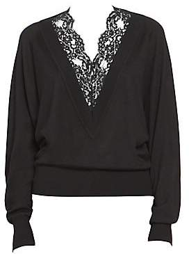 Chloé Women's Wool Silk Long Sleeve Lace V-Neck Sweater