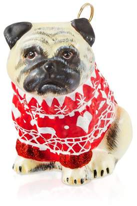 Nordic Joy to the World Pug Fawn in Sweater Ornament