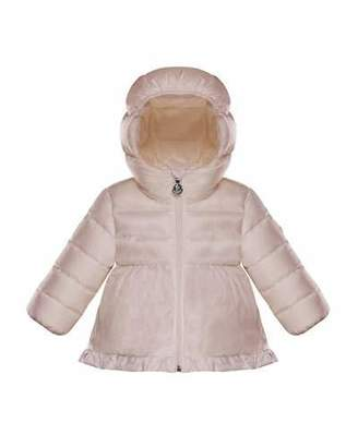 Moncler Odile Ruffle-Trim Puffer Jacket, Light Pink, Size 12M-3T