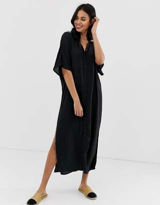 Amuse Society Tranquilo woven shirt dress in black