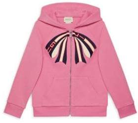 Gucci Little Girl's& Girl's Zip-Up Hoodie with Printed Bow - Pink - Size 12