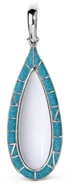American West White Agate and Turquoise Pendant Enhancer in Sterling Silver