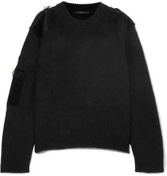 Mother of Pearl Atlas Embellished Velvet-trimmed Knitted Sweater - Black
