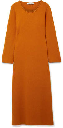 The Row Tirrie Ribbed Cashmere Midi Dress - Camel