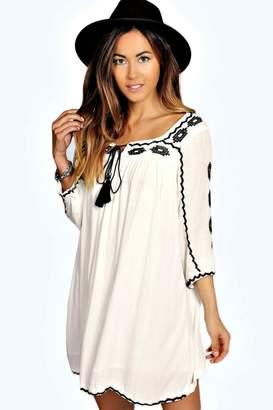 boohoo Embroidered Tassel Dress