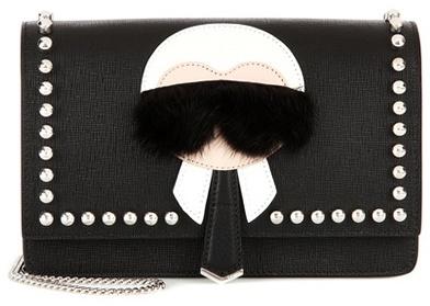 Fendi Karlito fur-trimmed leather shoulder bag
