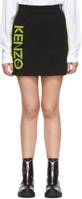 Kenzo Black and Yellow Sport Logo Miniskirt