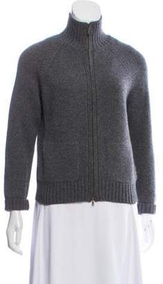 Loro Piana Cashmere Zip Front Cardigan Grey Cashmere Zip Front Cardigan