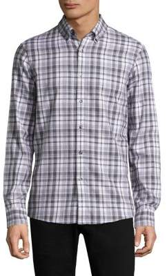 Michael Kors Plaid Cotton Casual Button-Down Shirt