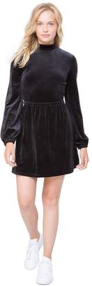 Juicy Couture Lightweight Velour Mock Neck Babydoll Dress