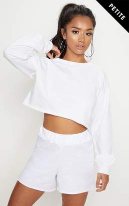 PrettyLittleThing Petite White Raw Edge Cropped Sweater