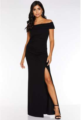 Quiz Black Bardot Ruched Split Maxi Dress