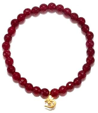 Satya Jewelry Womens Fucshia Agate Gold Om Stretch Bracelet