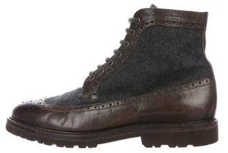 Brunello Cucinelli Leather & Wool Boots