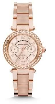 Michael Kors Mini Parker Pave Rose Goldtone Stainless Steel& Acetate Chronograph Bracelet Watch