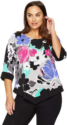 Alfred Dunner Women's Plus Size Floral Overlay