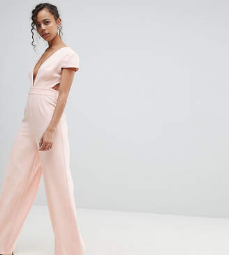 Asos Plunge Neck Jumpsuit with Wide Leg and Open Back