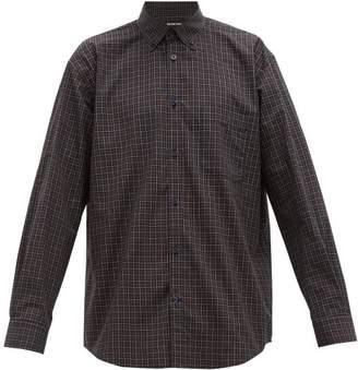 Balenciaga Logo Print Plaid Cotton Shirt - Mens - Navy