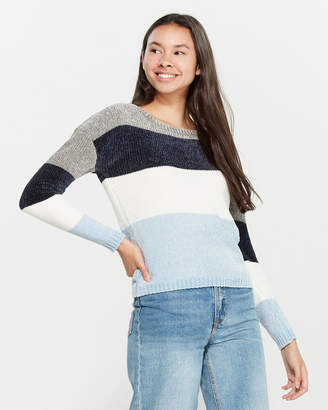 Poof Apparel Chenille Knit Long Sleeve Color Block Sweater