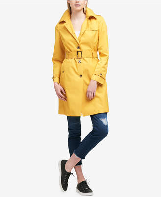 DKNY Hooded Belted Trench Coat