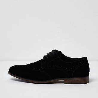 River Island Mens Black wide fit faux suede lace-up brogues