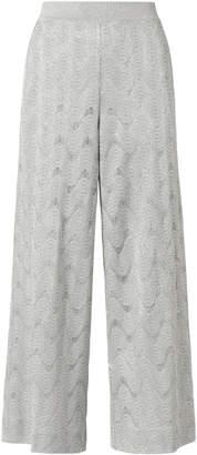 Missoni Silver Lurex Wide Leg Cropped Pants