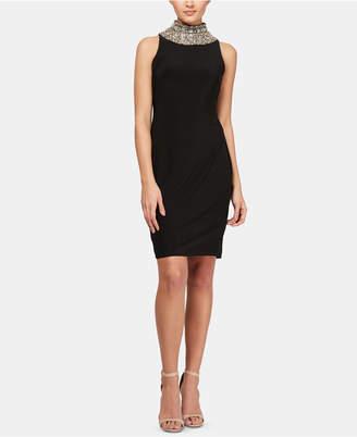 SL Fashions Embellished-Neck Dress