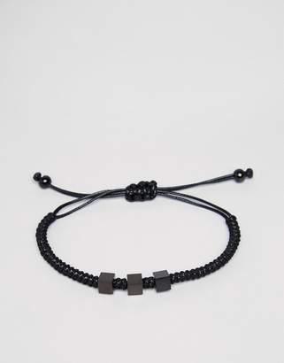 Mister Bae Bead Woven Bracelet In Black