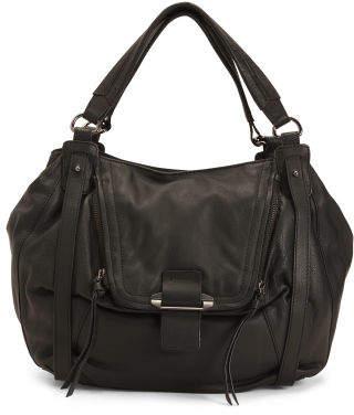 Jonnie Leather Multi Pocket Shopper Tote