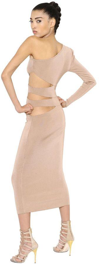 BalmainOne Shoulder Cutout Viscose Knit Dress