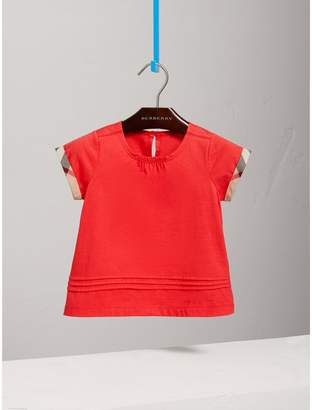 Burberry Pleat and Check Detail Cotton T-shirt