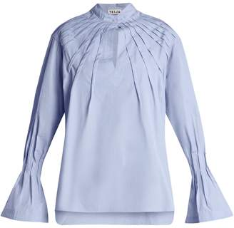 DAY Birger et Mikkelsen TEIJA Pintucked bell-cuff cotton blouse