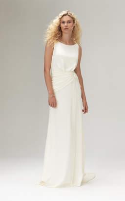 Savannah Miller Amadine Crepe Plunging Back Gown With Side Split