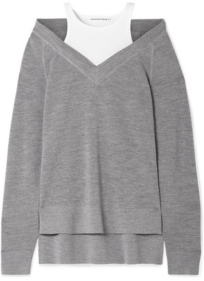 Alexander Wang Layered Wool And Stretch-cotton Jersey Sweater - Gray