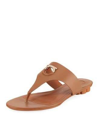 Salvatore Ferragamo Enfola Flat Calfskin Thong Sandal, Sella Camel