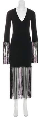 Michael Kors Virgin Wool Fringe-Trimmed Dress