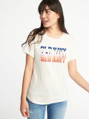 Old Navy Logo-Graphic Slub-Knit Tee for Women