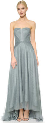 Monique Lhuillier Bridesmaids Strapless Sweetheart High Low Dress $298 thestylecure.com
