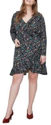 Junarose Plus Fransi Long-Sleeve Knee-Length Dress