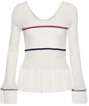3.1 Phillip Lim Ribbed Knit-paneled Shirred Stretch-cotton Peplum Top