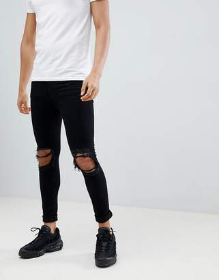 Jaded London Super Skinny Jeans With Rips In Black