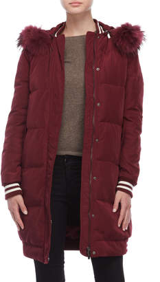 Annabelle Real Fur Trim Ribbed Trim Down Coat