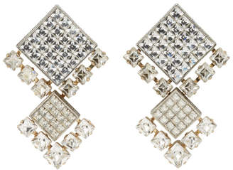 Lanvin Gold and Silver Crystal Clip-On Earrings