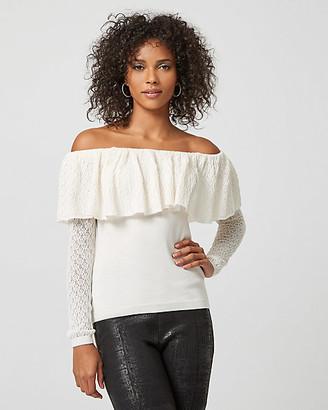 Le Château Pointelle Stitch Off-The-Shoulder Sweater