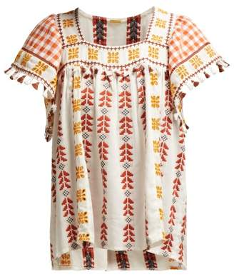 Dodo Bar Or - Teresa Geometric Embroidered Cotton Top - Womens - Tan Multi