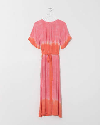 Raquel Allegra Grapefruit Tie-Dye Reversible Flutter Sleeve Dress