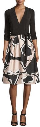 Diane von Furstenberg New Jewel Wrap Dress w/Mikado Skirt, Black/Pommeau Grande $568 thestylecure.com