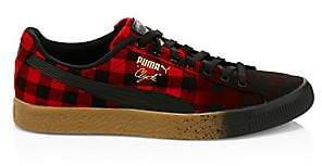 Puma Men's Clyde Red Buffalo Plaid Sneakers
