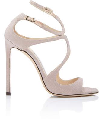 Jimmy Choo Lang Asymmetric Glittered Leather Sandals