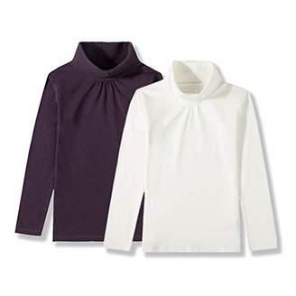 UNACOO Girls 2-Pack Solid Color Turtleneck Long-Sleeves Cotton Shirt (Black+Pink+Off